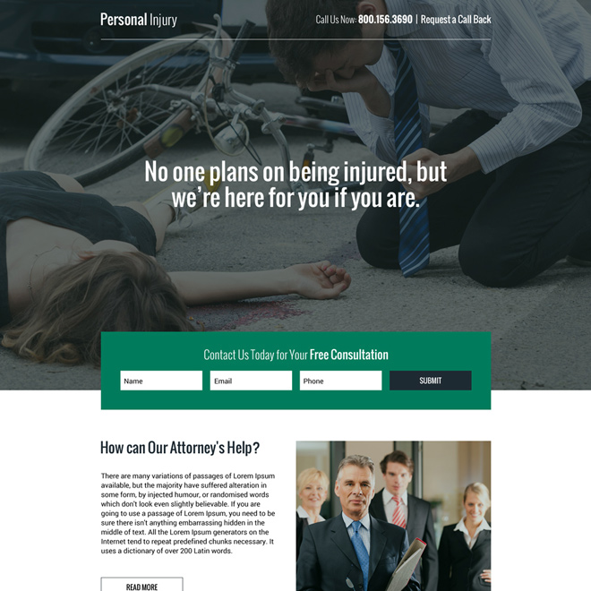responsive personal injury free consultation lead capturing landing page Personal Injury example