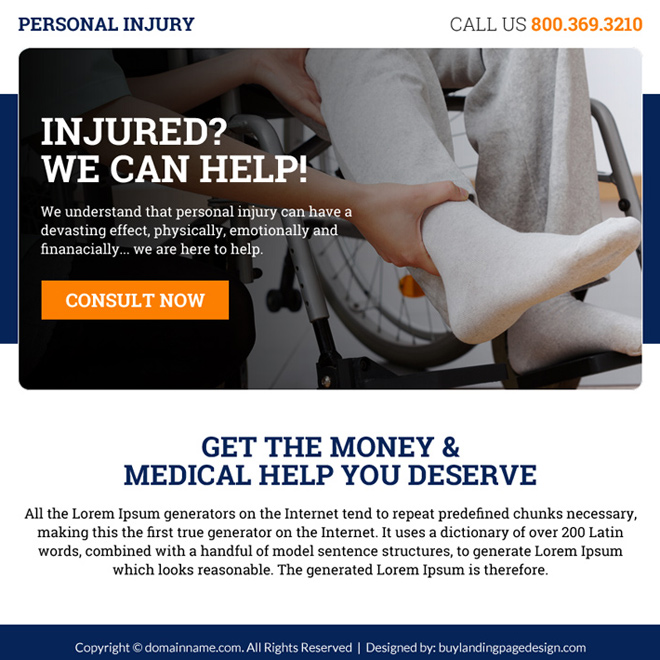 personal injury free consultation lead capturing ppv landing page Personal Injury example