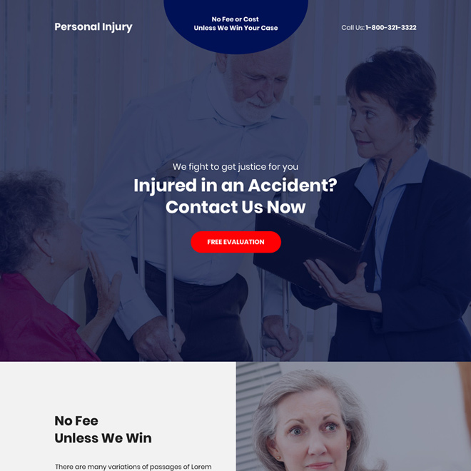 personal injury accidents free evaluation responsive landing page Personal Injury example