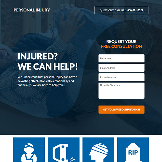 personal injury free consultation responsive landing page Personal Injury example