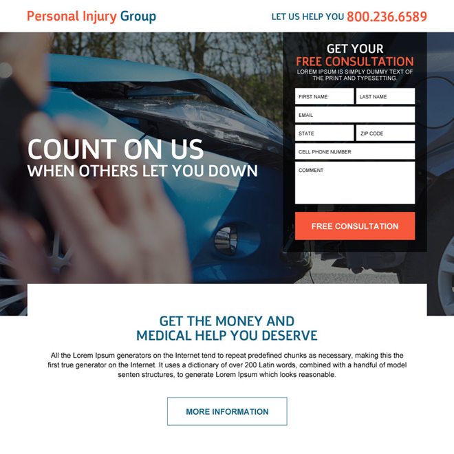 personal injury lead capturing landing page design Personal Injury example