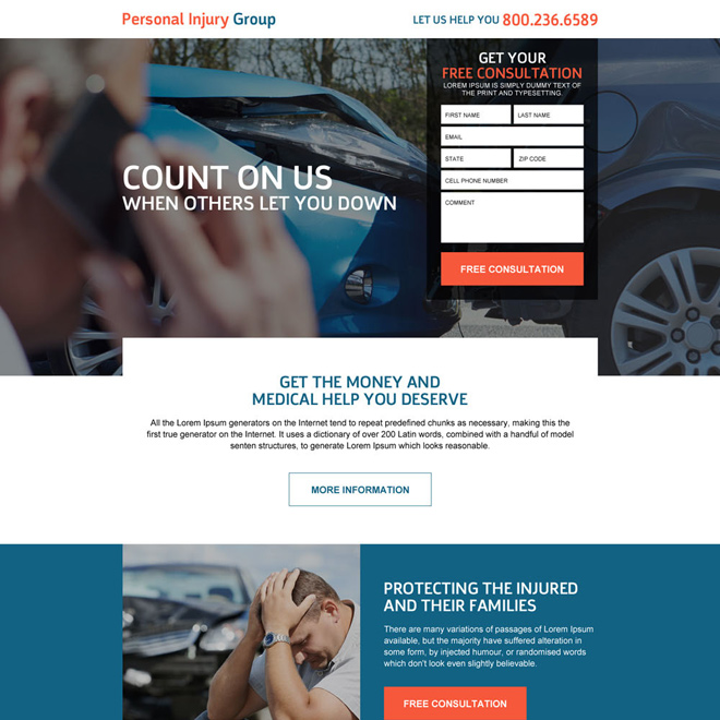 responsive personal injury help landing page design template Personal Injury example
