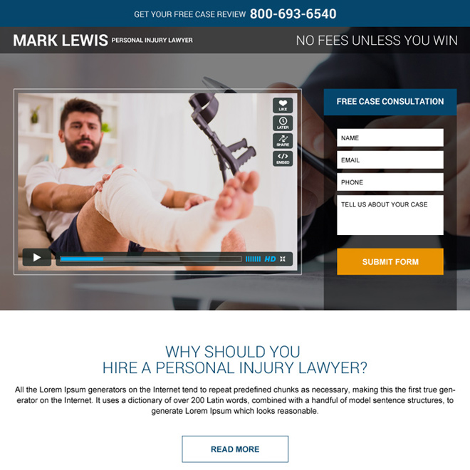personal injury lawyer free case evaluation landing page Personal Injury example