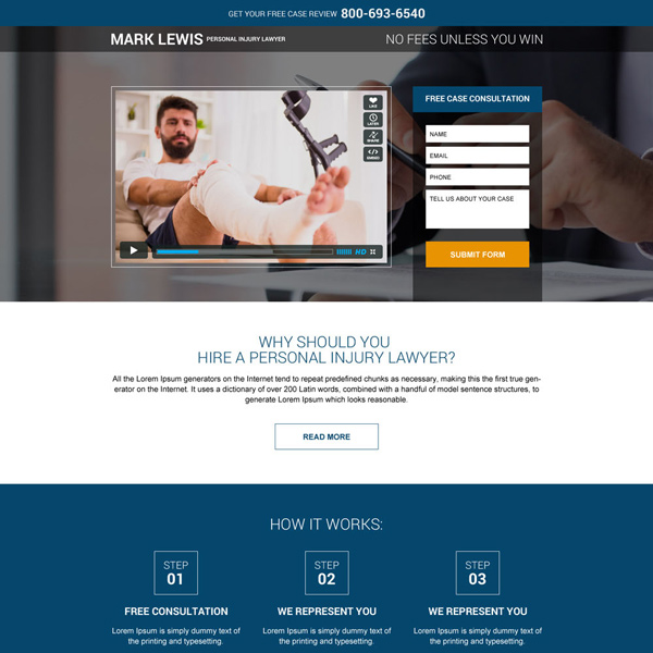 personal injury lawyer responsive landing page design Personal Injury example