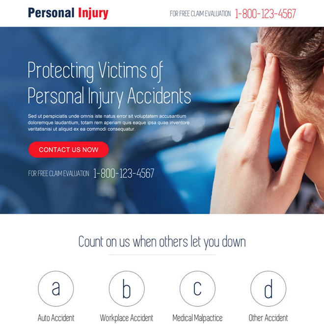 personal injury responsive landing page design template Personal Injury example