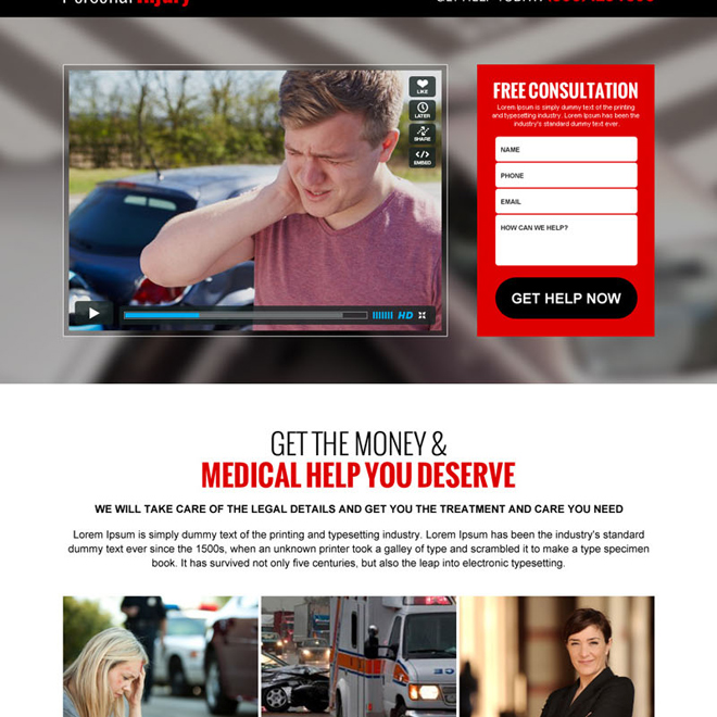 personal injury lead generation best video landing page design template Personal Injury example