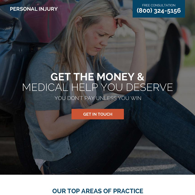 personal injury medical help responsive landing page design Personal Injury example