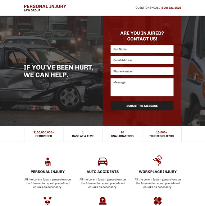 personal injury protection responsive landing page design Personal Injury example