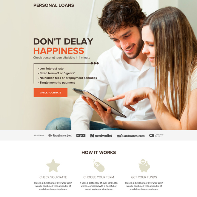 personal loan call to action long landing page Loan example