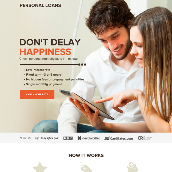 professional personal loan rates responsive landing page design Loan example