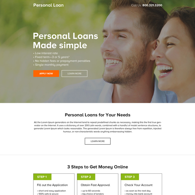 clean and minimal personal loan call to action landing page Loan example