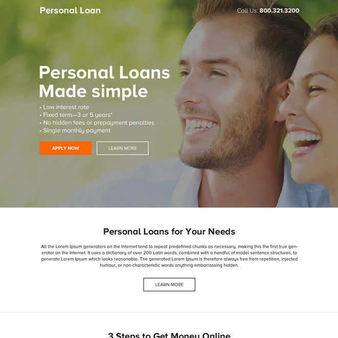 minimal personal loan responsive landing page design Loan example