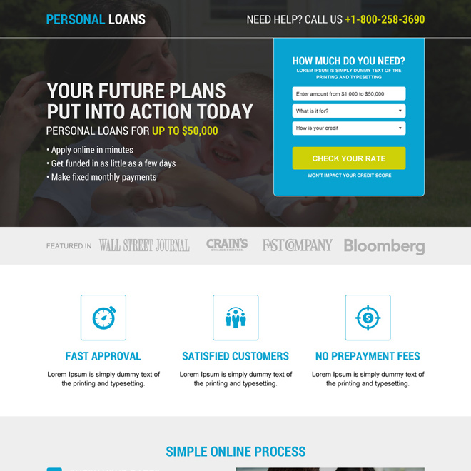 instant and easy personal loan service landing page Loan example