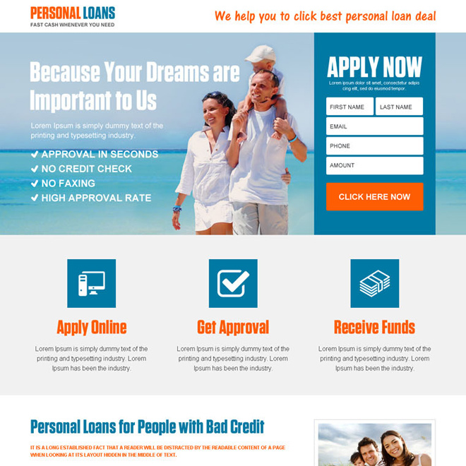 best personal loan online application landing page design Loan example
