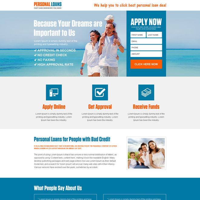 responsive personal loan landing page design template Loan example