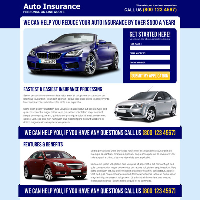 reduce your auto insurance attractive and effective squeeze page design Auto Insurance example
