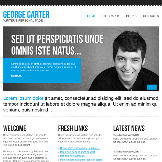 beautiful and clean html website template for your own personal website Personal Pages example