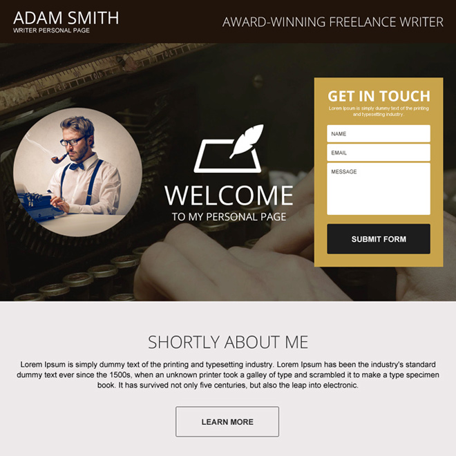 award winning freelance writer responsive personal page design Personal Page example