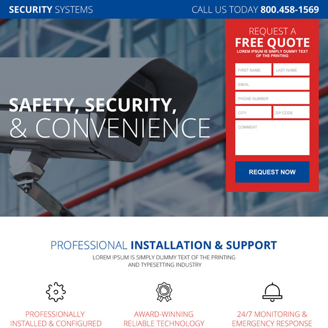 personal security system lead gen landing page design Security example