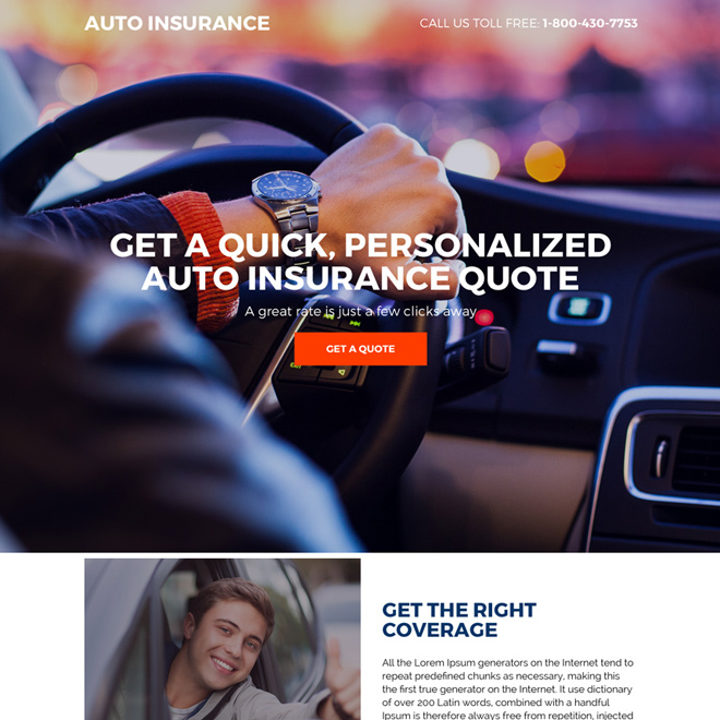 personalized auto insurance quote modern landing page design Auto Insurance example