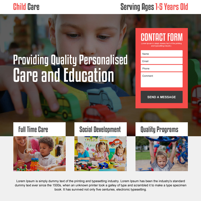 personalized child care lead gen landing page design Child Care example
