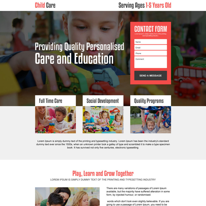 personalized child care responsive landing page design Child Care example