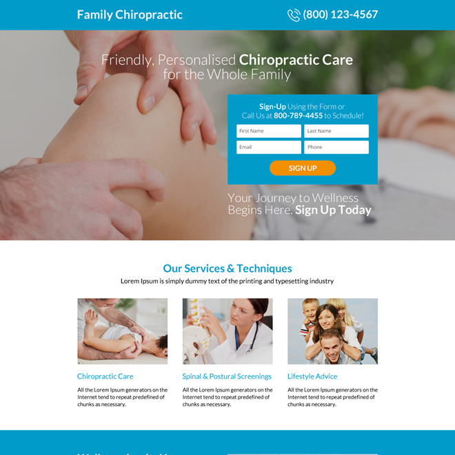 personalized chiropractic care sign up capturing responsive landing page design Chiropractic example