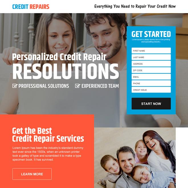 personalized credit repair lead gen landing page design Credit Repair example