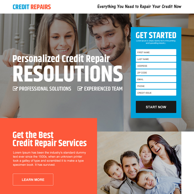 personalized credit repair responsive landing page design Credit Repair example