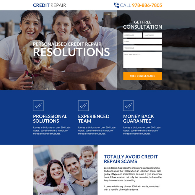 personalized credit repair service landing page design Credit Repair example