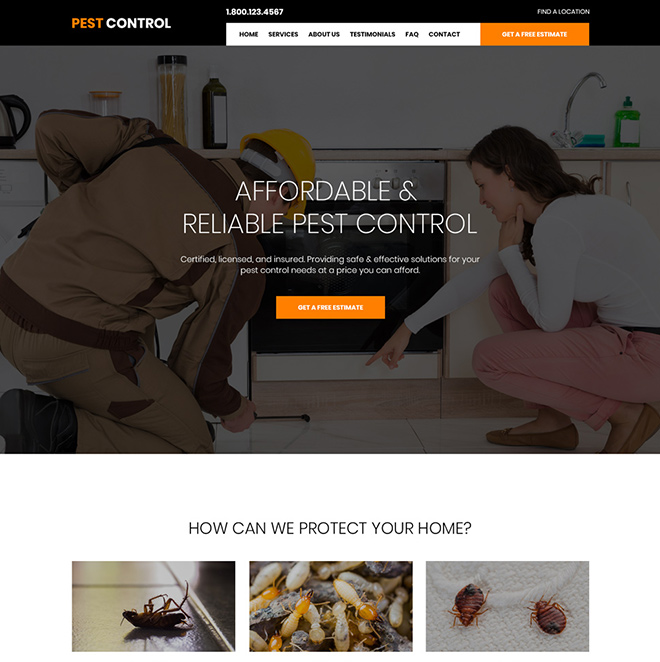 affordable pest control service responsive website design Pest Control example