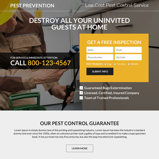 minimal pest prevention responsive landing page design Pest Control example