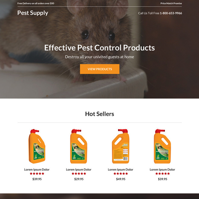 pest control product selling responsive landing page Pest Control example
