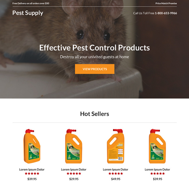 pest control product selling landing page design Pest Control example