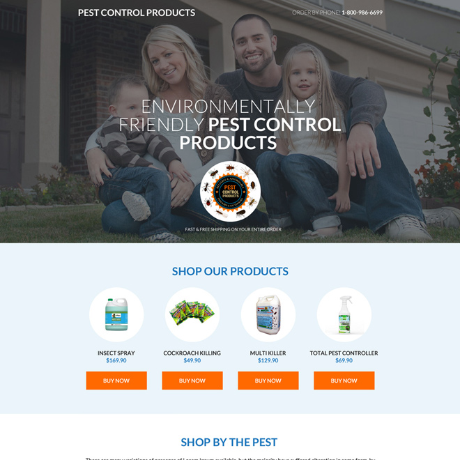pest control product selling mini landing page design Pest Control example