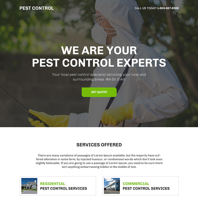 pest control experts bootstrap landing page design Pest Control example