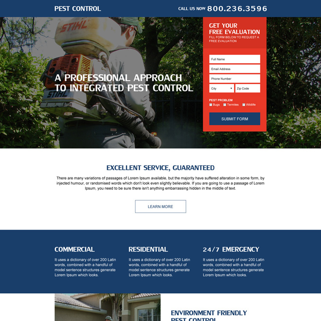 pest control service modern lead form landing page Pest Control example