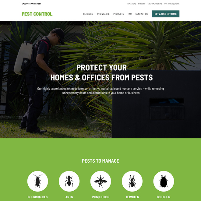 pest control product and services responsive website design Pest Control example