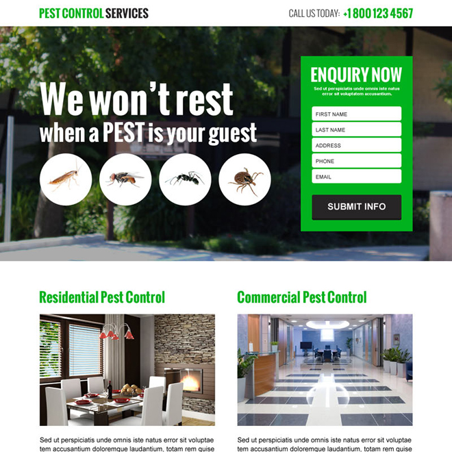 pest control services responsive landing page design template Pest Control example
