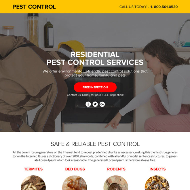 pest control service lead funnel landing page design Pest Control example