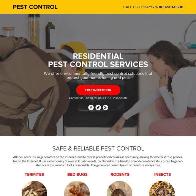 pest control service lead funnel responsive landing page design Pest Control example