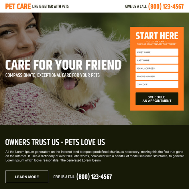 pets care service responsive landing page design Animals and Pets example