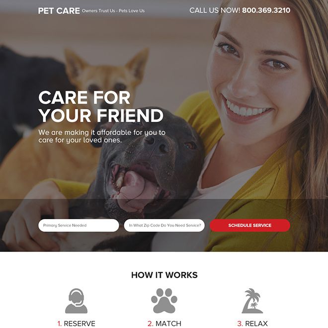 pet care service responsive landing page Animals and Pets example