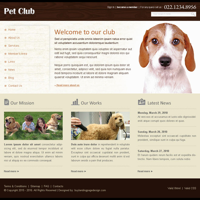 pets club website template design psd for sale Website Template PSD example