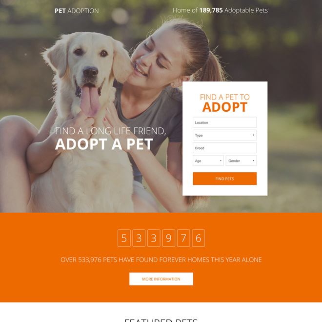 appealing pets adoption small lead capture form landing page Adoption example