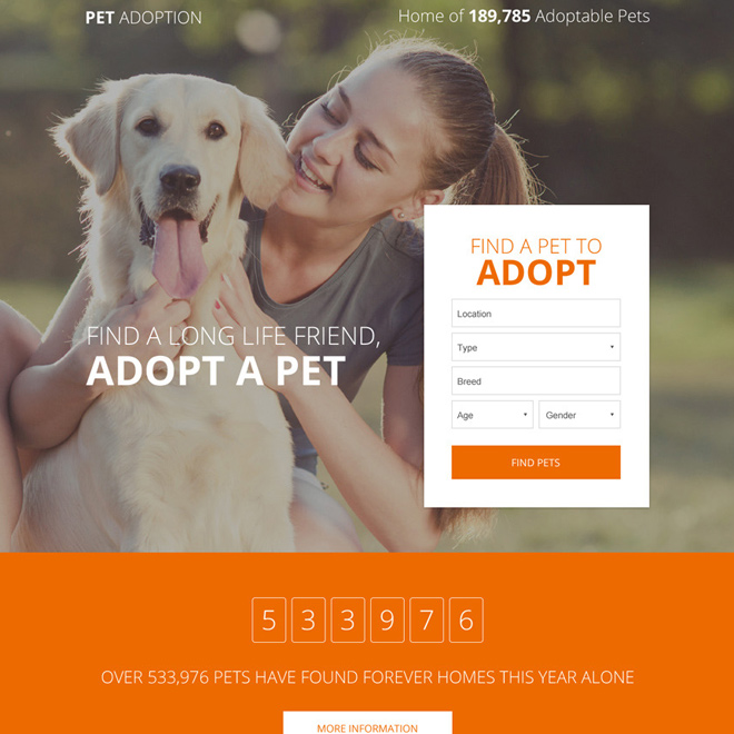 pets adoption responsive lead capture landing page Adoption example