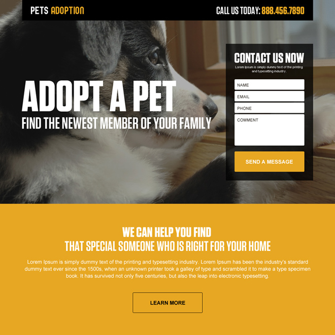 pets adoption lead generating responsive landing page Adoption example