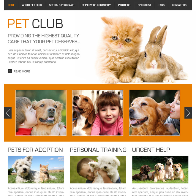 providing the highest quality care your pets deserve html website template Animals and Pets example