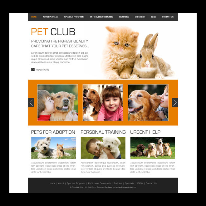 pets club clean website template design PSD Website Template PSD example