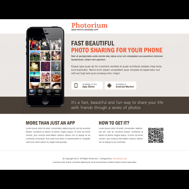 fast beautiful photo sharing from your phone application landing page design App Landing Page example